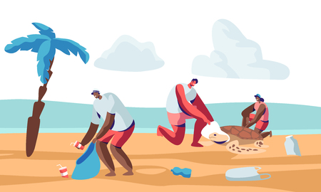 Volunteer People Cleaning Garbage on Beach Area and Saving Tortures.Volunteering, Men and Women Collecting Trash on Coastal Line or Seaside. Charity Social Concept. Cartoon Flat Vector Illustration Ilustração
