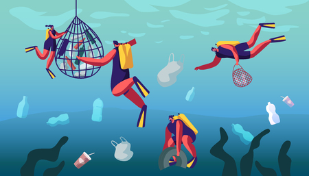 Scuba Divers Swimming in Ocean and Collecting Floating Sea Garbage in Polluted Water. Dirty Underwater Surface, Planet Pollution, Divers Characters Cleaning Trash. Cartoon Flat Vector Illustration Ilustração