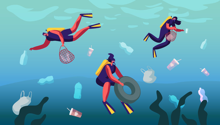 Plastic Pollution of Sea with Different Kinds of Garbage. Scuba Divers Collect Trash into Basket Underwater. Wastes Floating in Ocean Water. Ecology Protection Concept Cartoon Flat Vector Illustration