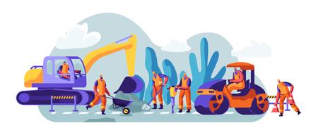 Riparazione stradale con macchine edili e persone che lavorano. Escavatore e veicoli pesanti rotanti che effettuano la manutenzione dell'asfalto. Costruzione di macchinari e segnali di pericolo. Cartoon piatto illustrazione vettoriale Vettoriali