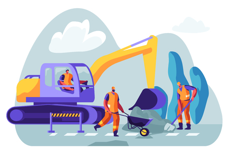 Excavator Dig Hole in Ground, Male Workers Remove Soil with Shovel and Wheelbarrow. Bagger Excavating Work on Foundation, Road Repair, Construction Machinery in Action Cartoon Flat Vector Illustration