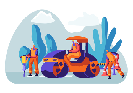 Roadwork and Asphalt Paving. Men in Overall Characters with Heavy Asphalting Machinery. Special Transport, Pavement Compactor. Construction Industry, Building Business Cartoon Flat Vector Illustration Vectores