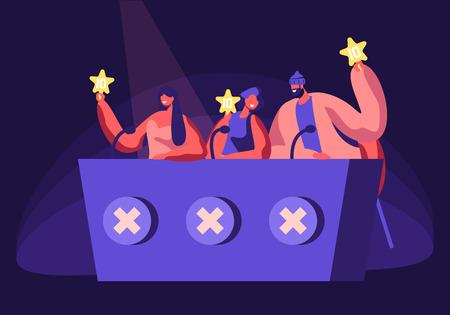 Celebrità che giudicano i partecipanti durante l'intrattenimento sul Talent Show o l'audizione sul palco degli artisti. Giudici che votano con la stella d'oro in mano. Spettacolo popolare di artisti dotati Cartoon Flat Vector Illustration Vettoriali