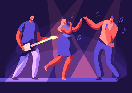 Male and Female Artists Performing on Scene with Musical Entertainment. Girl and Man Singing Song, Guitar Player Accompany. Talent Show or Music Band Concert on Stage. Cartoon Flat Vector Illustration Banque d'images - 121116459