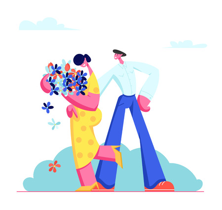 Young Couple Having Dating. Cute Embarrassed Girl in Yellow Dress Holding Bouquet of Beautiful Flowers in Hands, Man Embracing Girlfriend. Love, Human Relations Family Cartoon Flat Vector Illustration Иллюстрация