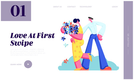 Young Couple Have Dating. Cute Girl Hold Bouquet of Flowers in Hands, Man Embracing Girlfriend. Love, Human Relations, Family, Website Landing Page, Web Page. Cartoon Flat Vector Illustration, Banner