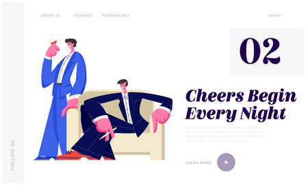 Young Handsome Men Spare Time in Night Club Smoking Cigarettes and Drinking Alcoholic Drinks and Beverages, Nightlife Leisure Website Landing Page, Web Page. Cartoon Flat Vector Illustration, Banner Illustration