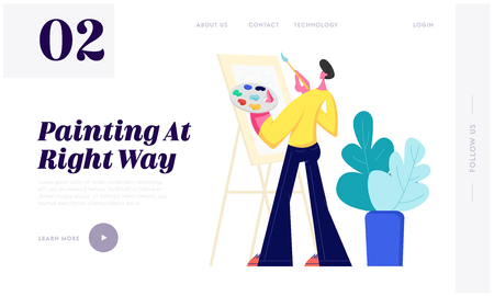 Artist Male Character with Paints Palette and Brush in Hands Stand in Front of Easel Canvas Painting, Creative Hobby, Drawing Website Landing Page, Web Page. Cartoon Flat Vector Illustration, Banner