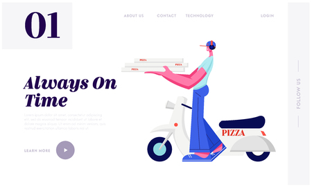 Pizza Delivery Service. Courier Character Bringing Pizza Order to Customer by Scooter. Italian Food Shipping, Transportation Website Landing Page, Web Page. Cartoon Flat Vector Illustration, Banner