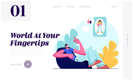 Young Man Sitting on Armchair Chatting with Girlfriend in Social Media Network, Giving Likes and Comments in Account Profile. Website Landing Page, Web Page. Cartoon Flat Vector Illustration, Banner Çizim