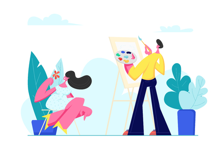 Young Man Painting Portrait of Beautiful Girl with Flower in Hands Sitting in Front of Easel. Artist Holding Paints Palette, Woman Posing, Outdoor Creative Hobby, Art, Cartoon Flat Vector Illustration Illustration