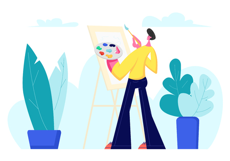 Talented Artist Male Character with Paints Palette and Brush in Hands Stand in Front of Easel Canvas Painting Outdoors, Creative Hobby, Drawing on Plein Air, Art Class Cartoon Flat Vector Illustration