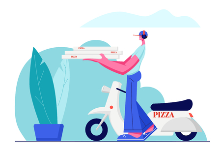 Pizza Delivery Service, Fast Moped Order Shipping. Cute Guy in Cap Carry Pile of Pizza Boxes in Hands to Address. Scooter Standing Behind on Landscape View Background. Cartoon Flat Vector Illustration