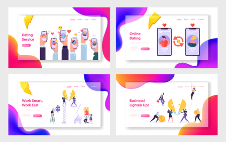 Online Dating Service and Business Team, Website Landing Page Templates Set. Mobile Application for People Chatting, Employees Set Light Bulb Puzzle Web Page. Cartoon Flat Vector Illustration, Banner