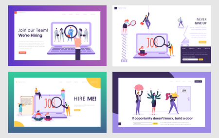 Job Seekers Searching Work Website Landing Page Templates Set. People Hiring Vocation in Internet, Waiting Audience Interview, Working Opportunity. Web Page. ,Cartoon Flat Vector Illustration, Banner