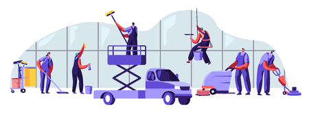 Male and Female Characters in Uniform with Equipment Cleaning Room with Huge Windows. Service of Professional Cleaners at Work Mopping, Vacuuming Floor, Rub, Sweeping. Cartoon Flat Vector Illustration