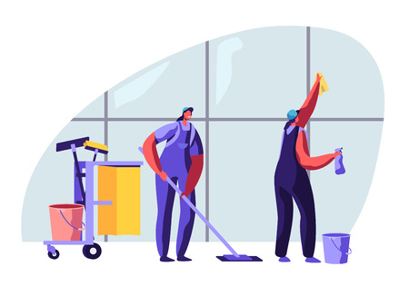 Cleaning Service Female Characters Sweeping and Mopping Floor with Mop, Washing Window with Rag. Other Equipment Standing on Trolley. Professional Cleaning Company. Cartoon Flat Vector Illustration  イラスト・ベクター素材