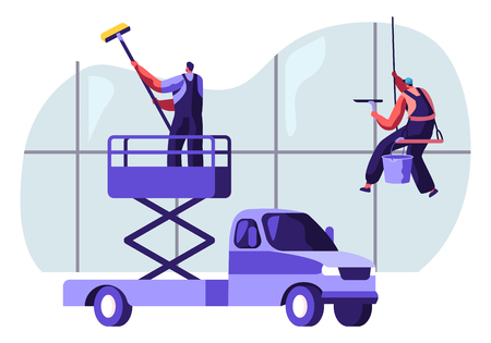 Professional Industrial Deep Cleaning Company Team Equipment, Vehicle Service. Men in Uniform Cleaning Window Working with Elevator Platform Car and Climbing Gear. Cartoon Flat Vector Illustration  イラスト・ベクター素材