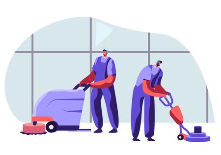 Personnel de l'entreprise de nettoyage Personnages masculins en uniforme travaillant avec de l'équipement et souriant amical, des concierges professionnels passant l'aspirateur et polissant le sol au bureau. Illustration vectorielle plane de dessin animé Vecteurs