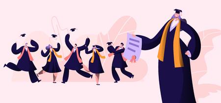 Grupo de personajes masculinos y femeninos con togas y gorras de graduación se regocijan, saltan y animan felices de obtener el certificado de diploma y terminar la educación universitaria. Ilustración de Vector plano de dibujos animados