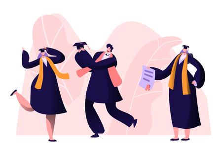 Diplômé de l'université, du collège ou de l'école des diplômés masculins et féminins. Les gens joyeux en casquette et robe académique se réjouissent, le professeur montre le certificat de diplôme aux diplômés. Illustration vectorielle plane de dessin animé Vecteurs
