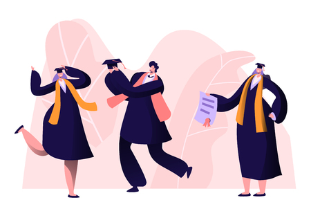 Male and Female Alumnus Graduating University, College or School. Cheerful People In Academical Cap and Gown Rejoice, Professor Show Diploma Certificate to Graduates. Cartoon Flat Vector Illustration