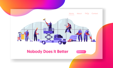 Workers in Uniform with Equipment Cleaning Room. Service of Professional Cleaners at Work Mopping, Vacuuming and Sweeping Floor Website Landing Page, Web Page. Cartoon Flat Vector Illustration, Banner