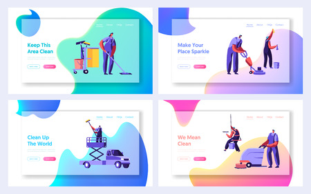 Cleaning Service Website Landing Page Templates Set. Service of Professional Cleaners at Work Mopping, Vacuuming and Sweeping Floor in Office or Home Web Page. Cartoon Flat Vector Illustration, Banner