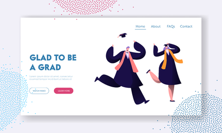 Happy Students Celebrating Graduation, End of Education. Cheerful Man and Woman in Academical Cap and Gown Laughing and Jumping Website Landing Page, Web Page. Cartoon Flat Vector Illustration, Banner