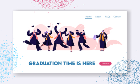 Graduating Students in Gowns and Caps Jumping and Cheering Up Happy to Get Diploma Certificate and Finish University Education. Website Landing Page, Web Page. Cartoon Flat Vector Illustration, Banner
