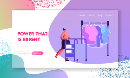 Female Character Pushing Trolley with Clean Clothing in Professional Public or Hotel Laundry. Cleaning, Service, Laundrette. Website Landing Page, Web Page. Cartoon Flat Vector Illustration, Banner
