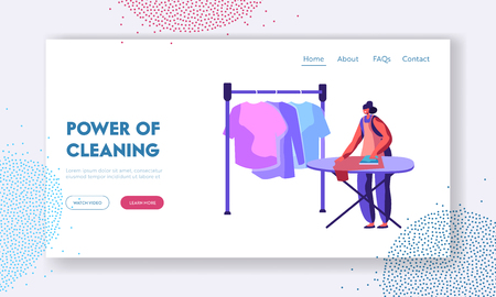 Female Employee in Laundry Service Working Process of Steaming and Ironing Clean Clothes. Woman Holding Iron to Dry Clothing. Website Landing Page, Web Page. Cartoon Flat Vector Illustration, Banner Иллюстрация
