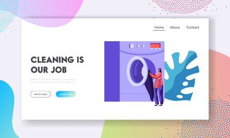 Worker or Customer Girl Loading Dirty Clothes to Laundromat Machine in Public Laundry or Launderette. Wash, Cleaning Service. Website Landing Page, Web Page. Cartoon Flat Vector Illustration, Banner