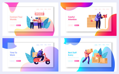 Post Office Service Website Landing Page Templates Set. People Send Letters and Parcels. Postmen Deliver Mail to Customers. Mail Delivery, Postage Web Page. Cartoon Flat Vector Illustration, Banner Illustration