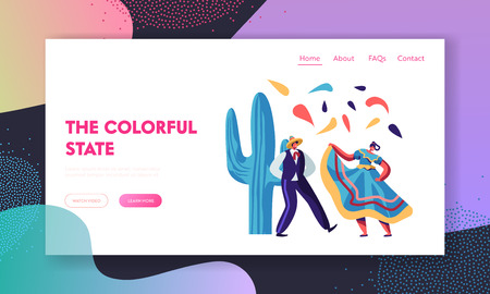 Cinco De Mayo Mexican Artists of Male and Female Dancers in Traditional Clothes Entertain on National Folk Music Festival. Website Landing Page, Web Page. Cartoon Flat Vector Illustration, Banner