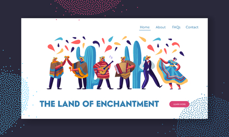 Cinco De Mayo Festival with Mexican People In Traditional Clothes, Musicians and Dancers Celebrating National Music Holiday. Website Landing Page, Web Page. Cartoon Flat Vector Illustration, Banner Archivio Fotografico - 122945558