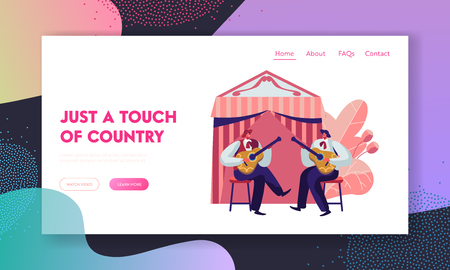 Cinco De Mayo Festival with Band of Mexican Men Playing Guitar Celebrating National Folk Music Holiday. Artists Musicians. Website Landing Page, Web Page, Cartoon Flat Vector Illustration, Banner Фото со стока - 122602333
