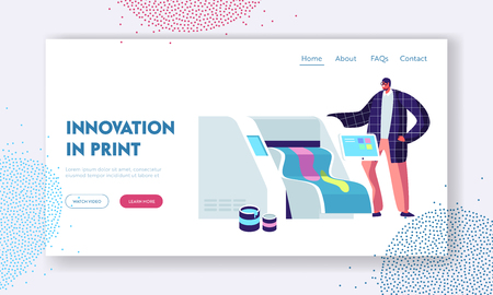 Printshop or Printing Service Center with Man Work with Widescreen Offset Inkjet Printer. Electronic Equipment, Advertising Website Landing Page, Web Page. Cartoon Flat Vector Illustration, Banner Vectores