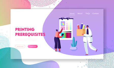Female Designer Characters Choose Coloring Palette on Screen for Offset Printing in Typography, Advertising Agency, Polygraphy. Website Landing Page, Web Page. Cartoon Flat Vector Illustration, Banner