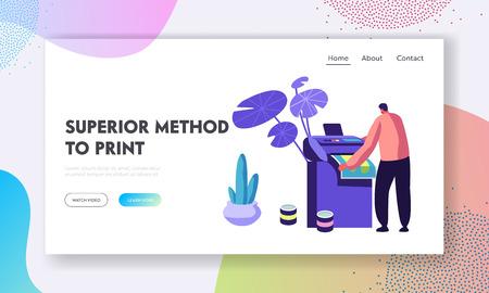 Man drukowanie reklam na wielofunkcyjnej drukarce laserowej lub atramentowej. Proces pracy w typografii lub agencji reklamowej, Creative Studio. Strona docelowa witryny, strona internetowa. Ilustracja kreskówka płaskie wektor, baner Ilustracje wektorowe