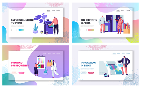 Printing House Advertising Agency Website Landing Page Templates Set, Polygraphy Industry, Typography. Customers, Designers Produce Press Ad Material Web Page. Cartoon Flat Vector Illustration, Banner