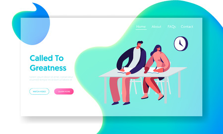 Young Male and Female Students Sitting at Desk in Classroom Writing Lecture. Gaining Knowledge, Higher Education, Examination. Website Landing Page, Web Page. Cartoon Flat Vector Illustration, Banner
