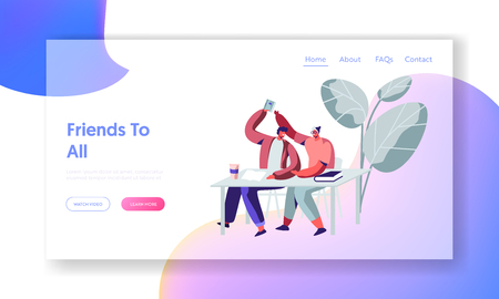 Couple of Students Laughing and Fooling on Lecture or Break in University. Higher Education, Friends Learning in College. Website Landing Page, Web Page. Cartoon Flat Vector Illustration, Banner