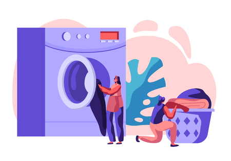 Personnages féminins dans une blanchisserie publique portant des vêtements propres au panier, chargeant des vêtements sales dans une machine à laverie automatique. Lavage de laverie industrielle, service de nettoyage. Illustration vectorielle plane de dessin animé