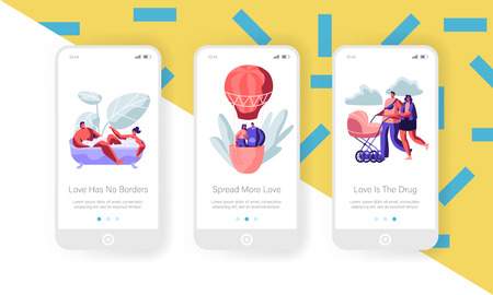 Dating and Family Concept for Mobile App Page Onboard Screen Set. Man and Woman Take Bath, Fly on Air Balloon, Push Baby Stroller. Love, Relation Website or Web Page. Cartoon Flat Vector Illustration Иллюстрация