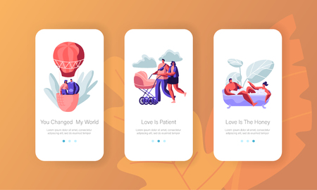 Love, Relation Concept for Mobile App Page Onboard Screen Set. Man and Woman Take Bath, Fly on Air Balloon, Push Baby Stroller. Dating and Family Website or Web Page. Cartoon Flat Vector Illustration Иллюстрация
