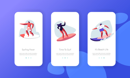 Summertime Activity, Healthy Lifestyle Mobile App Page Onboard Screen Set. Surfers in Swim Wear Riding Big Sea Wave on Board. Surfing Concept for Website or Web Page. Cartoon Flat Vector Illustration Иллюстрация