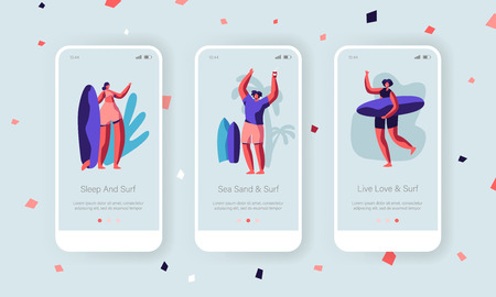 Summer Sport Mobile App Page Onboard Screen Set. Young Men and Women Enjoying Surfing Activity at Seaside, Young Characters Leisure Concept for Website or Web Page. Cartoon Flat Vector Illustration Иллюстрация
