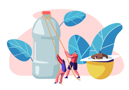 People Characters Using Plastic Things. Opening Water Bottle, Drinking Beverage Cup, Carrying Shaving Machine, Sitting in Yogurt Container, Human Products Consuming. Cartoon Flat Vector Illustration Illustration
