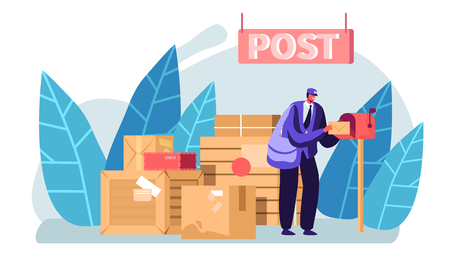 Postman Wearing Uniform and Cap with Bag on Shoulder Putting Letter in Mail Box. Faceless Male Character Post Office Employee Stand near Parcel Boxes in Warehouse. Cartoon Flat Vector Illustration Stock Illustratie
